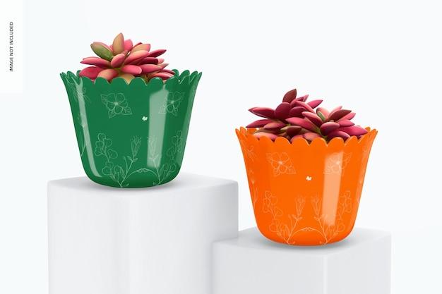 Maquette de pots de plantes en verre, perspective