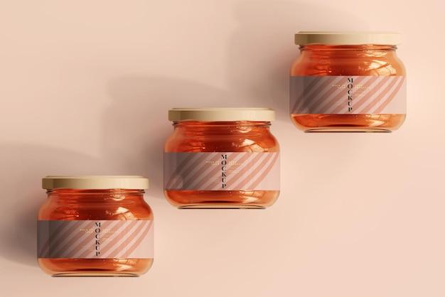 Maquette de pots en verre de marmelade