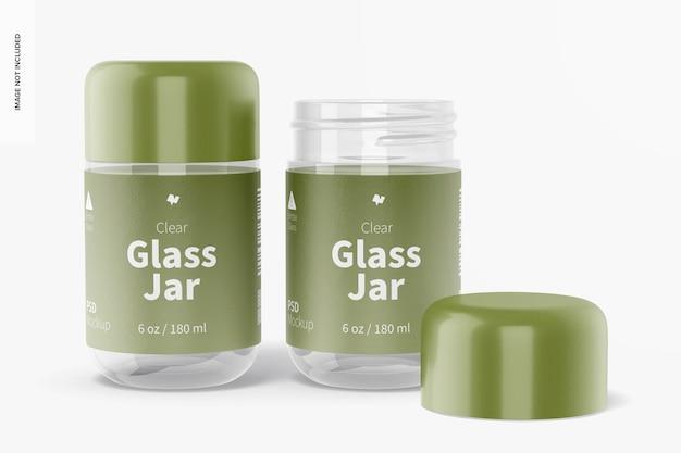 Maquette de pots en verre transparent de 180 ml, fermés et ouverts