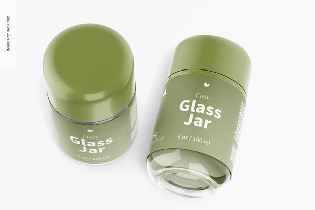 Maquette de pots en verre transparent de 180 ml, vue de dessus