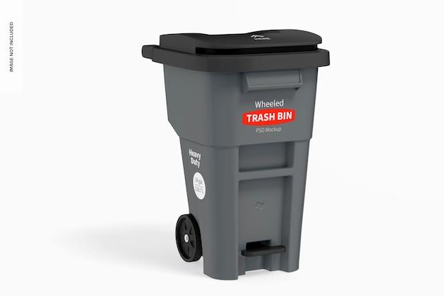 Maquette de poubelle sur roues, vue de gauche