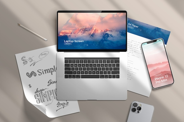 Maquette pour smartphone, papier et ordinateur portable
