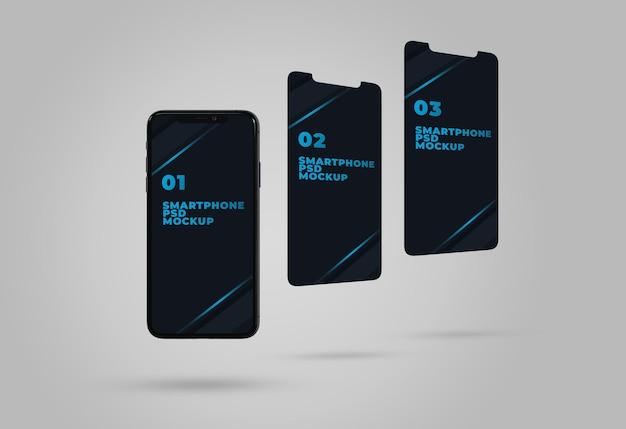 Maquette de présentation de l'application ui ux téléphone et écran