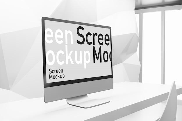 Maquette de présentation d'écran d'ordinateur dans le créateur de scène d'illustration de rendu 3d
