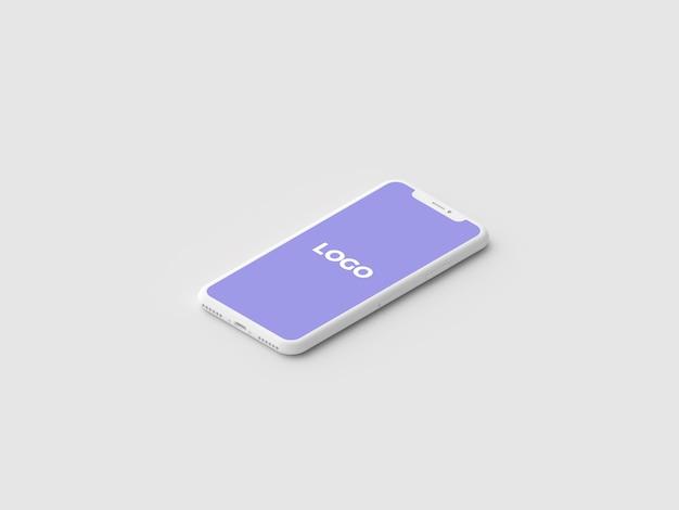 Maquette de présentation iphone x isométrique en argile minimale