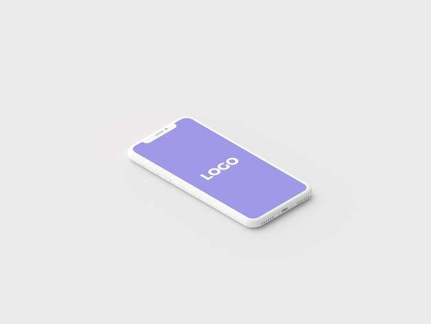 Maquette de présentation isométrique en argile minimale pour iphone x v2