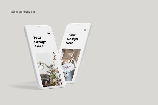 Maquette de présentation de périphérique smartphone en argile debout