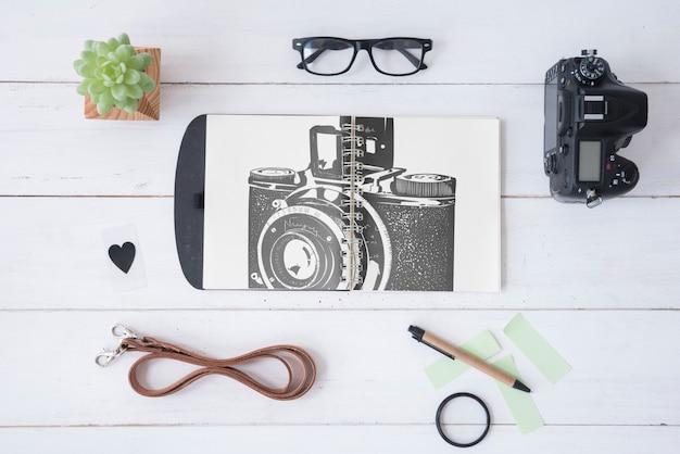 Maquette de presse-papiers avec concept de photographie