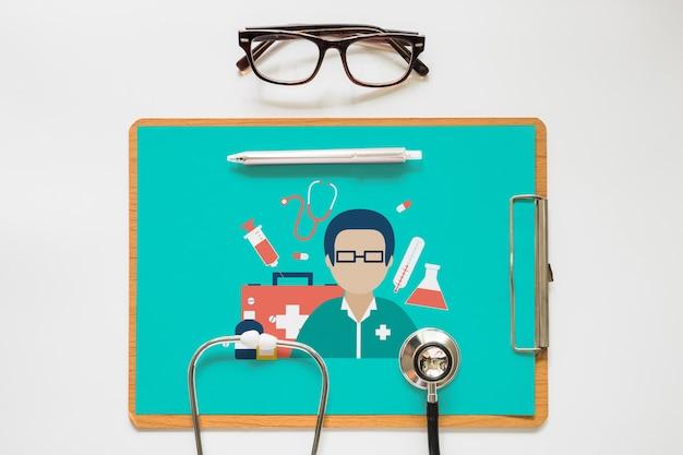 Maquette de presse-papiers avec concept santé