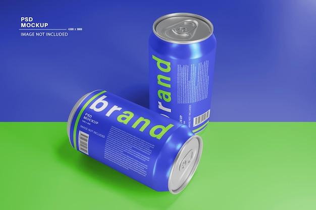 Maquette de produit de boisson énergisante en canettes fraîches