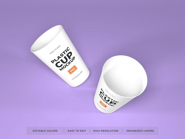 Maquette de produit de tasse en plastique