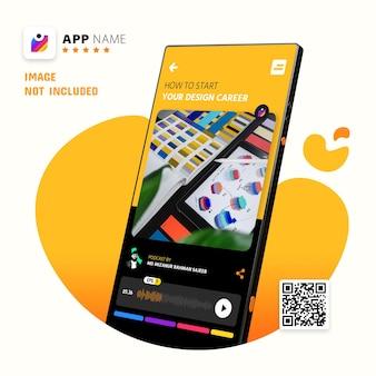 Maquette de promotion d'application de smartphone, maquette de logo avec le code qr de balayage