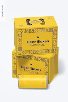 Maquette psd de boîtes à bière