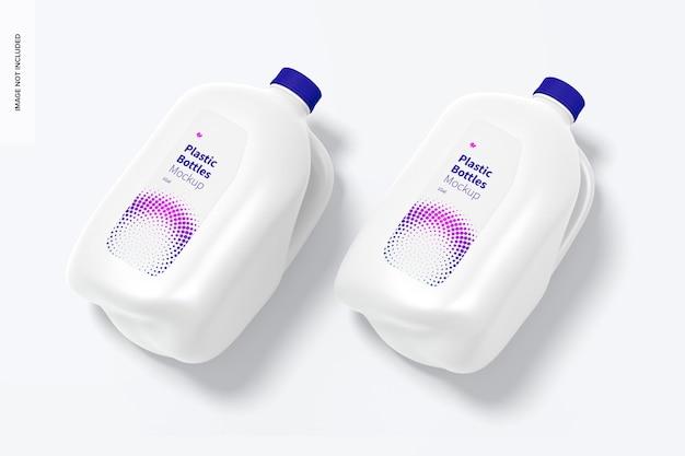 Maquette psd de bouteilles en plastique, vue en perspective