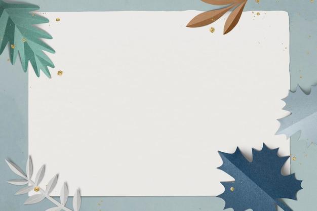 Maquette psd de cadre de feuille d'hiver dans un style artisanal en papier