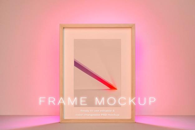 Maquette psd de cadre photo avec lumière led dégradé rose