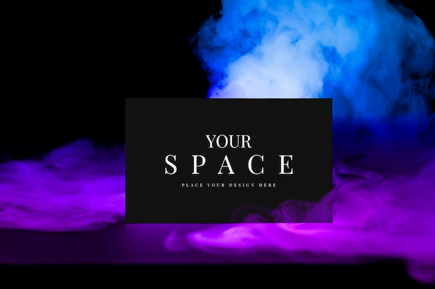 Maquette psd de carte de visite, fumée esthétique avec espace de conception
