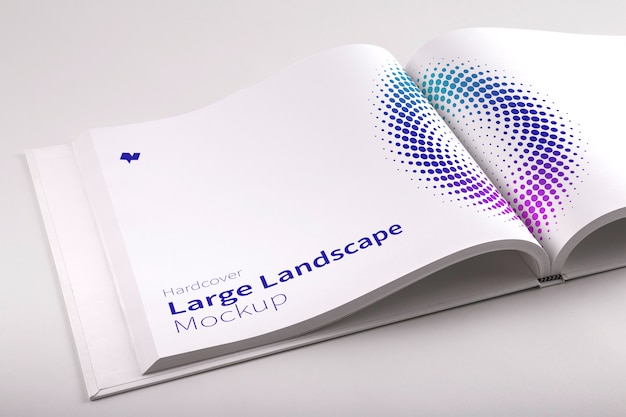 Maquette psd de livre de paysage à couverture rigide