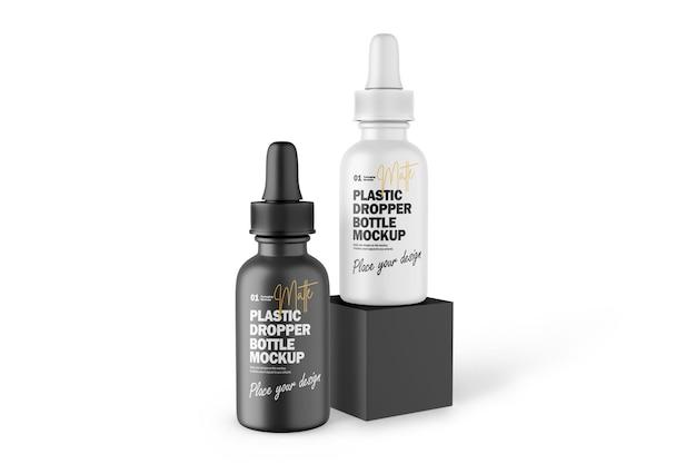 Maquette psd de produit cosmétique de bouteilles compte-gouttes en plastique mat 3d