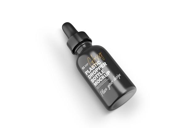 Maquette psd de produit cosmétique de flacon compte-gouttes en plastique brillant 3d