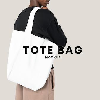 Maquette psd de sac fourre-tout blanc pour la publicité d'accessoires