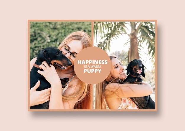 Maquette de publication de médias sociaux avec le concept de chien