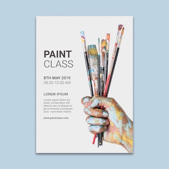 Maquette de publication de médias sociaux avec le concept de peinture