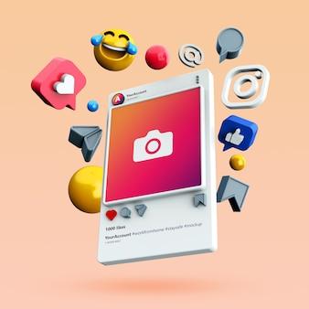 Maquette de publication sur les réseaux sociaux instagram 3d