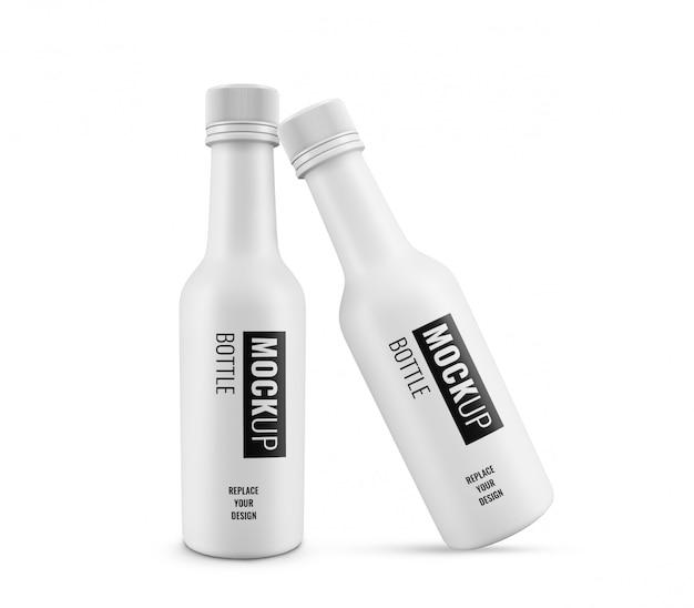 Maquette publicitaire de bouteille en plastique blanc