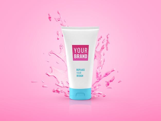 Maquette publicitaire d'éclaboussure d'eau de tube de crème