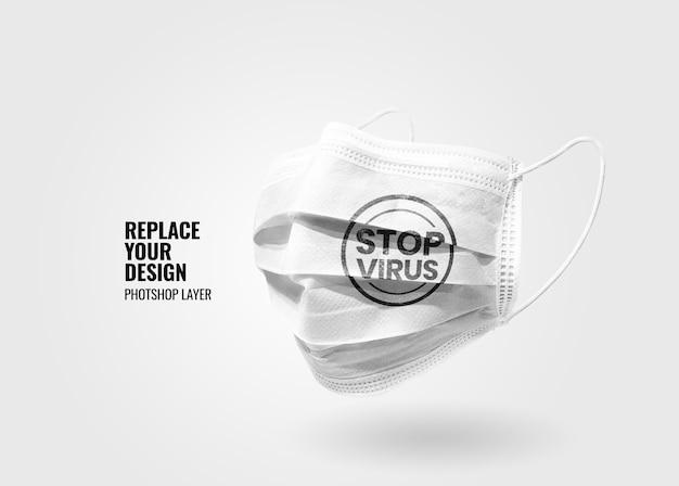 Maquette publicitaire de masque médical blanc