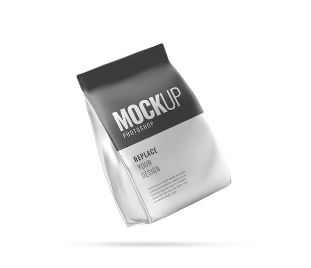 Maquette publicitaire de sac de poche alimentaire