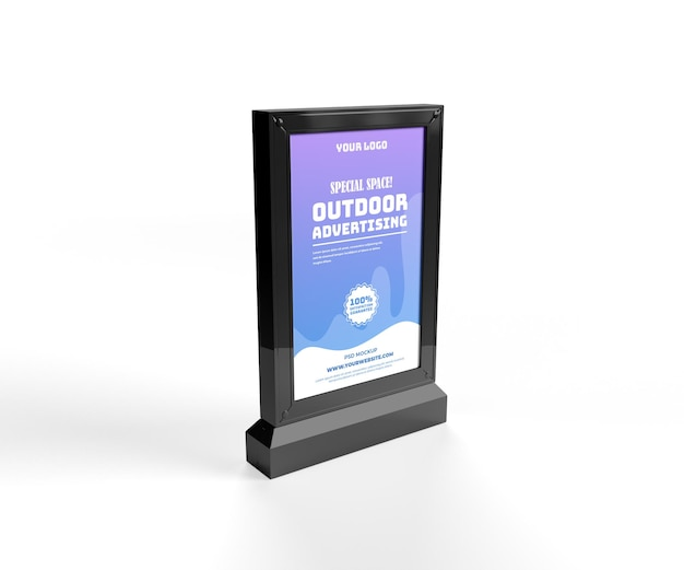 Maquette de publicité verticale noire extérieure debout vue latérale électronique