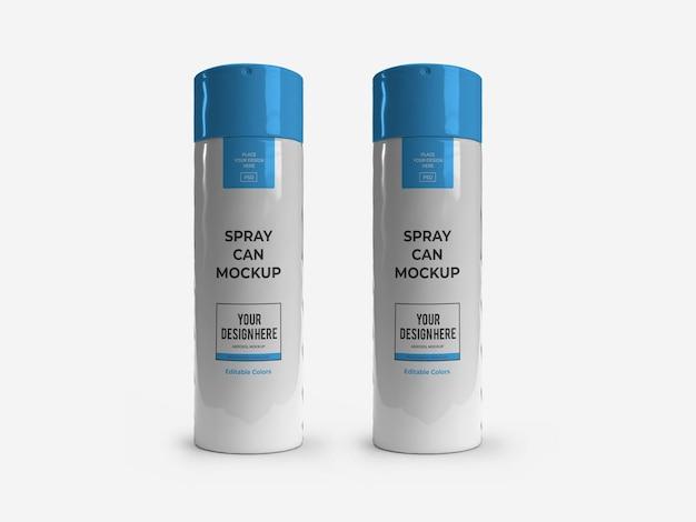 Maquette de pulvérisation de bouteille d'aérosol de déodorant isolée