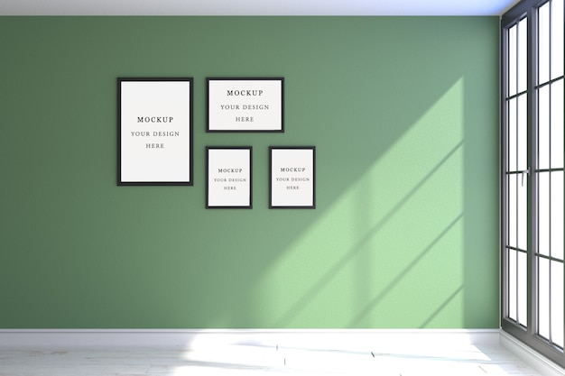 Maquette de quatre cadres vert