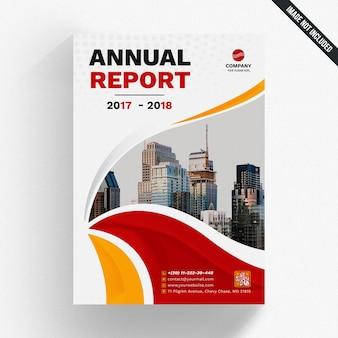 Maquette de rapport annuel avec des formes ondulées