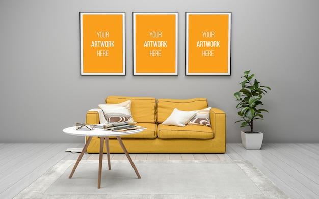Maquette réaliste de 3d rendue de salon moderne intérieur