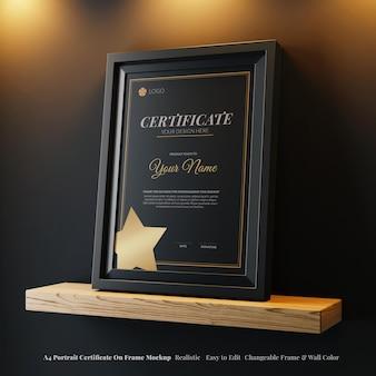Maquette réaliste de cadre de certificat élégant de portrait a4 moderne modifiable sur une étagère en bois