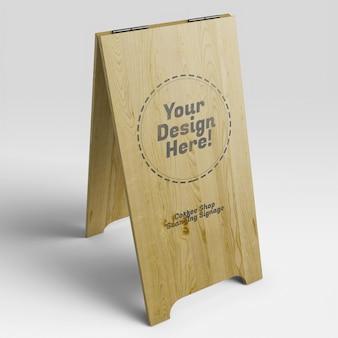 Maquette réaliste d'une grande enseigne de stand de bistrot de café urbain