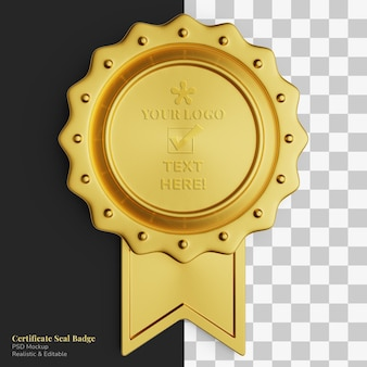Maquette réaliste d'insigne d'étiquette de certificat de cercle d'or de luxe vintage