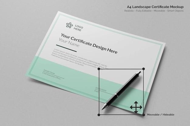 Maquette réaliste de papier de certificat d'entreprise horizontal a4 minimal avec stylo de signature