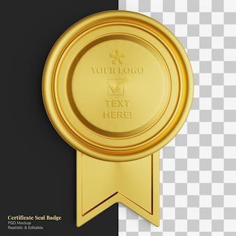 Maquette réaliste de ruban d'insigne de sceau de certificat rond doré exclusif élégant