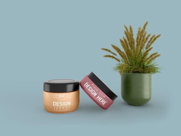 Maquette de récipient de crème cosmétique pour crème, lotion, sérum, emballage de bouteille vierge de soin de la peau.