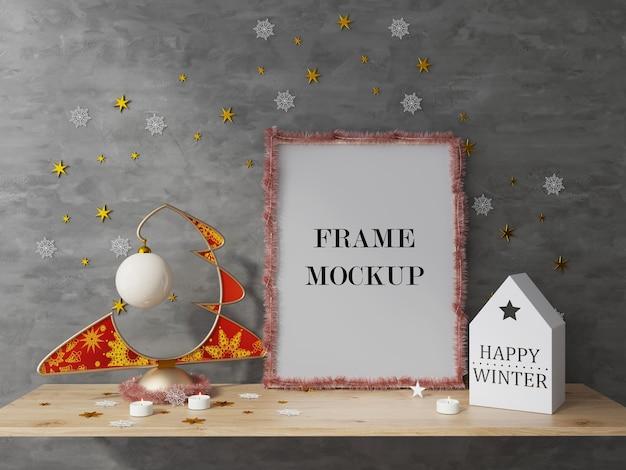Maquette de rendu 3d de cadre photo de vacances de nouvel an et de noël