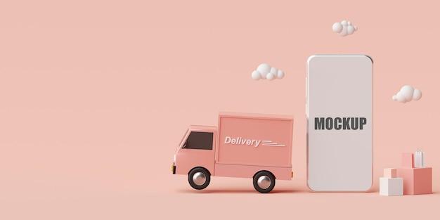 Maquette de rendu 3d de concept de commerce électronique