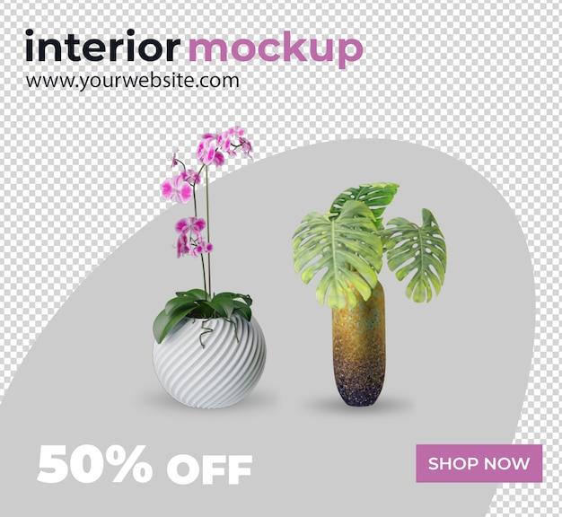 Maquette de rendu 3d de décoration intérieure de plante