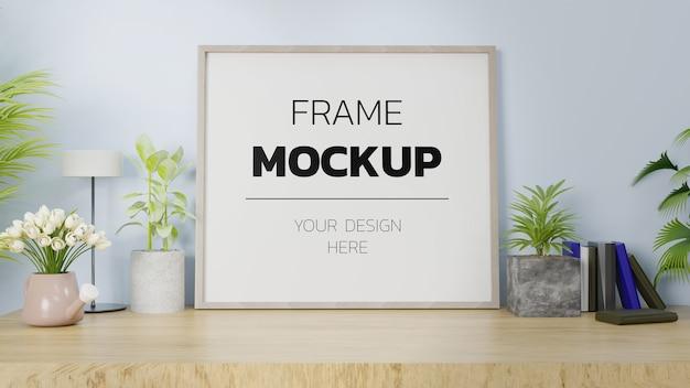 Maquette de rendu 3d du cadre à l'intérieur de la maison