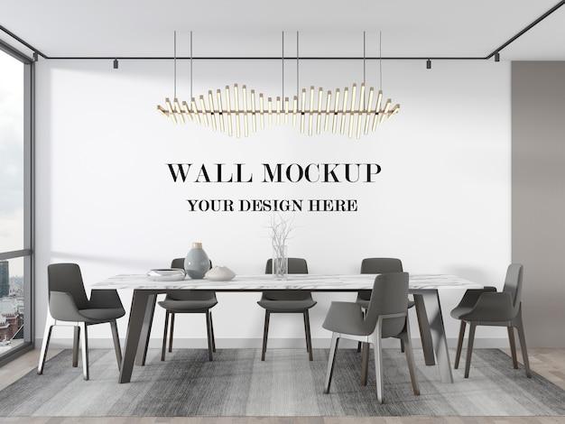 Maquette de rendu 3d de mur blanc de salle à manger de luxe élégant