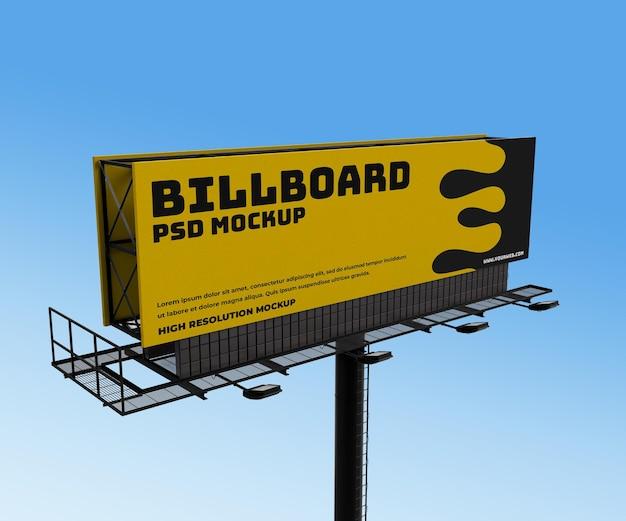 Maquette de rendu 3d de panneau d'affichage extérieur de publicité horizontale réaliste