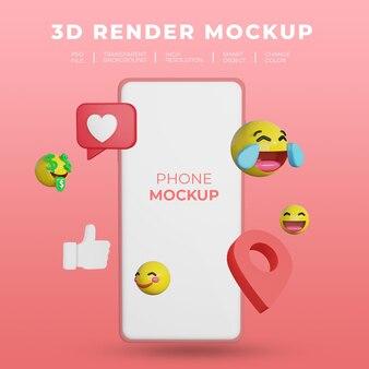 Maquette de rendu 3d smartphone avec médias sociaux emoji
